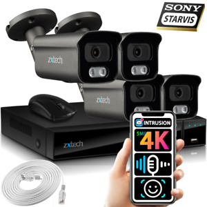 5MP & 4K CCTV System 4x Face AI Sony Starvis Audio Recording HD Security Cameras