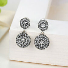 925 Sterling Silver Clear CZ Double Round Charm Stud Earring for Christmas Gifts