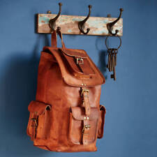 New Large Vintage Real Genuine Leather Bag Rucksack Backpack Dark Brown
