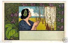 POSTCARD GERMAN ART NOUVEAU WOMAN AND VIOLET FLOWERS SIGNED LAUDA