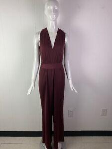 NWT BCBG MAX AZRIA Cahya Plum Rose Satin Tie-Waist Wide Leg Jumpsuit Size L