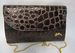 VINTAGE BROWN REPTILE PRINT LEATHER CONVERTABLE CLUTCH BAG CHAIN STRAP