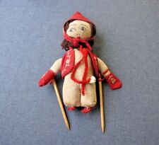Vintage folk art embroidery cloth skier doll with wooden sticks