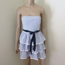 Abercrombie Womens Strapless Tiered Ruffle Eyelet Dress Size Medium