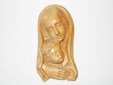 Holz-Wand-Relief, Madonna/Maria mit Jesus-Kind, Grödner Tal Südtirol, 70er-Jahre