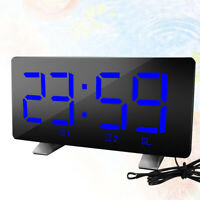 LED Mirror Digital  Display Alarm Clock USB Charging Desk Table  Snooze Timer