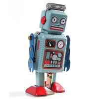 Metal Walking ROBOT Clockwork Wind Up TIN Toy Retro Vintage Mechanical Kids Gift