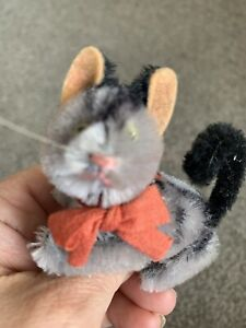 "1950's SCHUCO MINIATURE MOHAIR 3"" Gray  Kitten Cat Fully Jointed NICE NR"