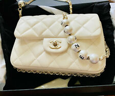 CHANEL small Flap bag Lambskin & Costume Pearl White 2020 New Rare