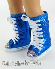 Electric Blue Glitter knee High Top Sneaker Boots fit American Girl Doll