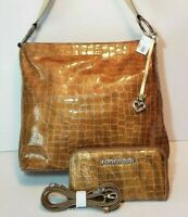 BRIGHTON GOLD CHER SHOULDER HANDBAG , CROSSBODY WALLET SET MPR $380 MINT COND.