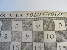 RARE GRAVURE XVIII JEU DAMES à LA POLONAISE POLOGNE CHECKERS ANTIQUE GAME 1750