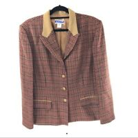 Pendleton Vintage Wool Blend Brown Houndstooth Blazer 18 Womens Plus