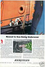 1943 Hercules Chemical Materials Red Paint Print Ad Sea-Going Underwear