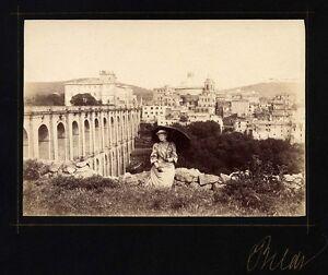 Very nice Rare vintage albumen unseen Rome Panorama Woman with umbrella 1880c