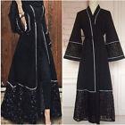 Womens Lace Long Sleeve Open Front Trim Abaya Jilbab Muslim Islamic Maxi Dress