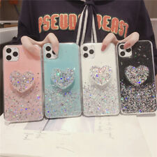 For iPhone 11 Pro Max XR 8 7 6s+ Glitter Cute Heart Stand Girls Soft Case Cover
