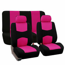 Pink Complete Car Seat Covers Front Back Pink Black For Car Truck SUV