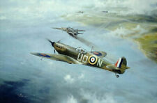 Rob Taylor Spitfire print First Combat signed by Battle of Britain pilot Kingaby
