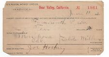 1902 US Postal Money Order from Bear Valley CA