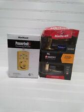 Kwikset Smartkey Lido Polished Brass Door Lever & Powerbolt2 Electronic Deadbolt