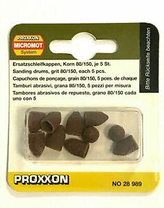 PROXXON 28989 Ersatzschleifkappen, 9 mm, Korn 80 und Korn 150, je 5 Stück