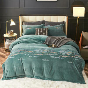 Bedding set 4pcs set Super warm soft velvet quilt cover flat sheet 2 pillowcases