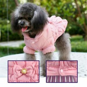 Dog Pink Princess Pets Coat Puppy Clothes Winter Waterproof Dress Costume Hooded