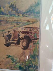"""Artiste peintre BARBAS """"La route des Alpes"""" aquarelle signée."""