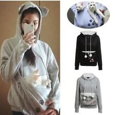 Kangaroo Pouch Pet Cat Dog Pocket Women Hoodie Sweatshirt Jumper Pullover New GL