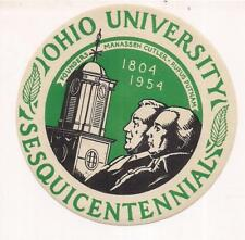 OHIO University 1804-1954 150 Years Founders Cutler/Putnam Luggage Label/Sticker