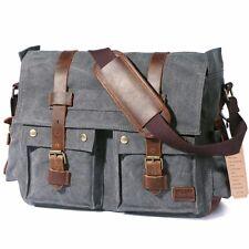 Lifewit Vintage Messenger Bag 17,3 Zoll Umhängetasche Schultertasche Ideal Grau