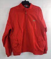 VTG Izod Lacoste Red Full Zip Jacket Men's Large Windbreaker Harrington Plaid