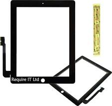 New Black iPad 3 & 4 Touch Screen Digitizer Front Glass With Fixing Tape