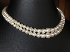 ART DECO GENUINE SALTWATER PEARL GRADUATED DOUBLE STRAND NECKLACE SILVER - 816
