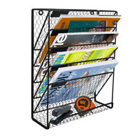 6 Tier Hanging File Holder Organizer Metal Chicken Wire Wall Mount Magazine Rack
