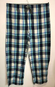 BNWT Marks & Spencer blue grey check full length pyjama bottoms M NEW cotton