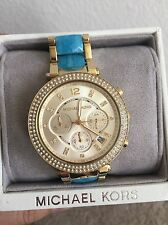 $300 NWT MICHAEL KORS Parker Gold and Blue Acetate Chronograph WATCH MK6364