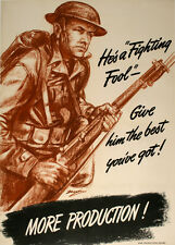 Original Vintage WWII Poster More Production - He's a Fighting Fool by Noran '42