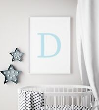 Personal Custom Name Letter Initial Blue Baby Nursery Print Kids Room Wall Art