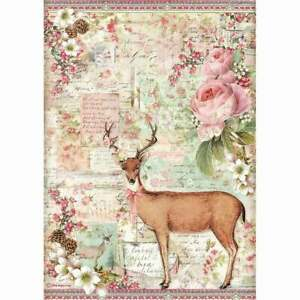 STAMPERIA - Pink Christmas CHRISTMAS DEER - Rice Paper A4 Decoupage - DFSA4474