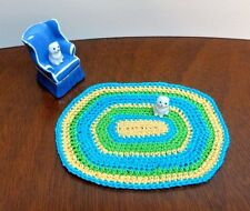 doll house mini crochet oval rug miniature 1:12 Dollhouse Rug yellow blue green