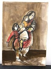 Orig. Ruth Schloss Painting Gouache & Ink on Paperboard Mother & Three Children