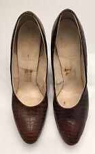 Vintage 40's Saks Fifth Avenue Fenton last leather croc pumps Aaa