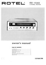 Rotel RX-154A Receiver Owners Instruction Manual
