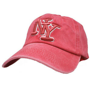 Mens Womens Washed Cotton Vintage New York NY Baseball Solid Cap Adjustable Hat