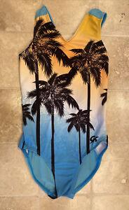 GK Girls Leotard Blue Yellow Palm Trees Child Medium Free Shipping