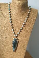 Fashion Amazonite Stones Rosary Chain Arrowhead Pendant Mala Necklace