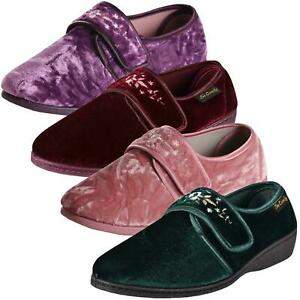 Ladies Wedge Slippers Velour Indoor Outdoor Comfort Shoe Memory Foam UK Size 3-8