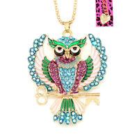 Betsey Johnson Enamel Crystal Cute Owl Key Pendant Chain Animal Necklace Gift